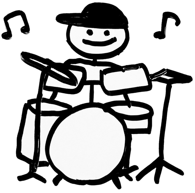 A cute handwritten graphic of a kid playing drums smiling.