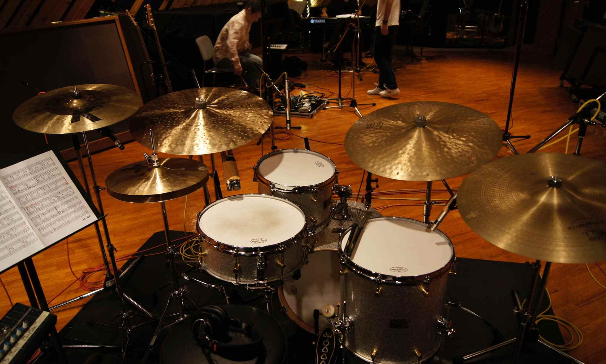A drum set in a lesson studio