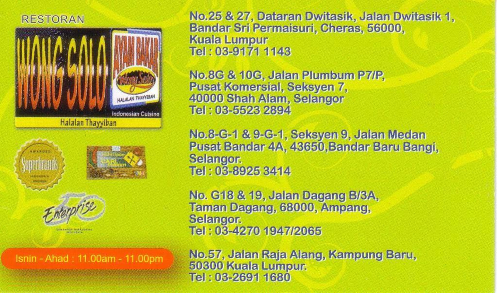 Senarai Cawangan Wong Solo