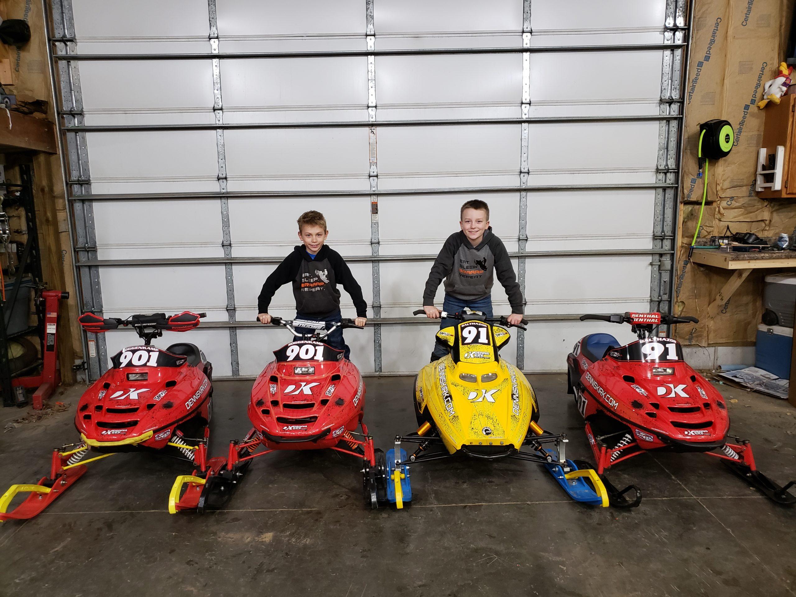 Kids on Snowmobiles