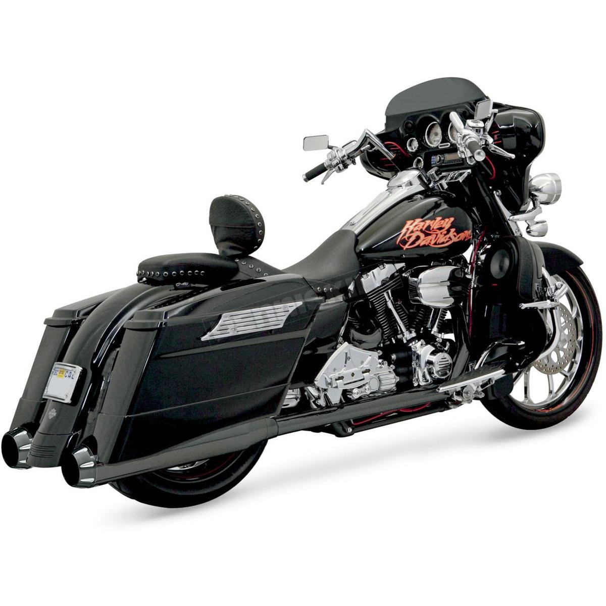 black ceramic p bagger stepped true dual exhaust system with power curve b1 muffler w black end caps 1f56rb
