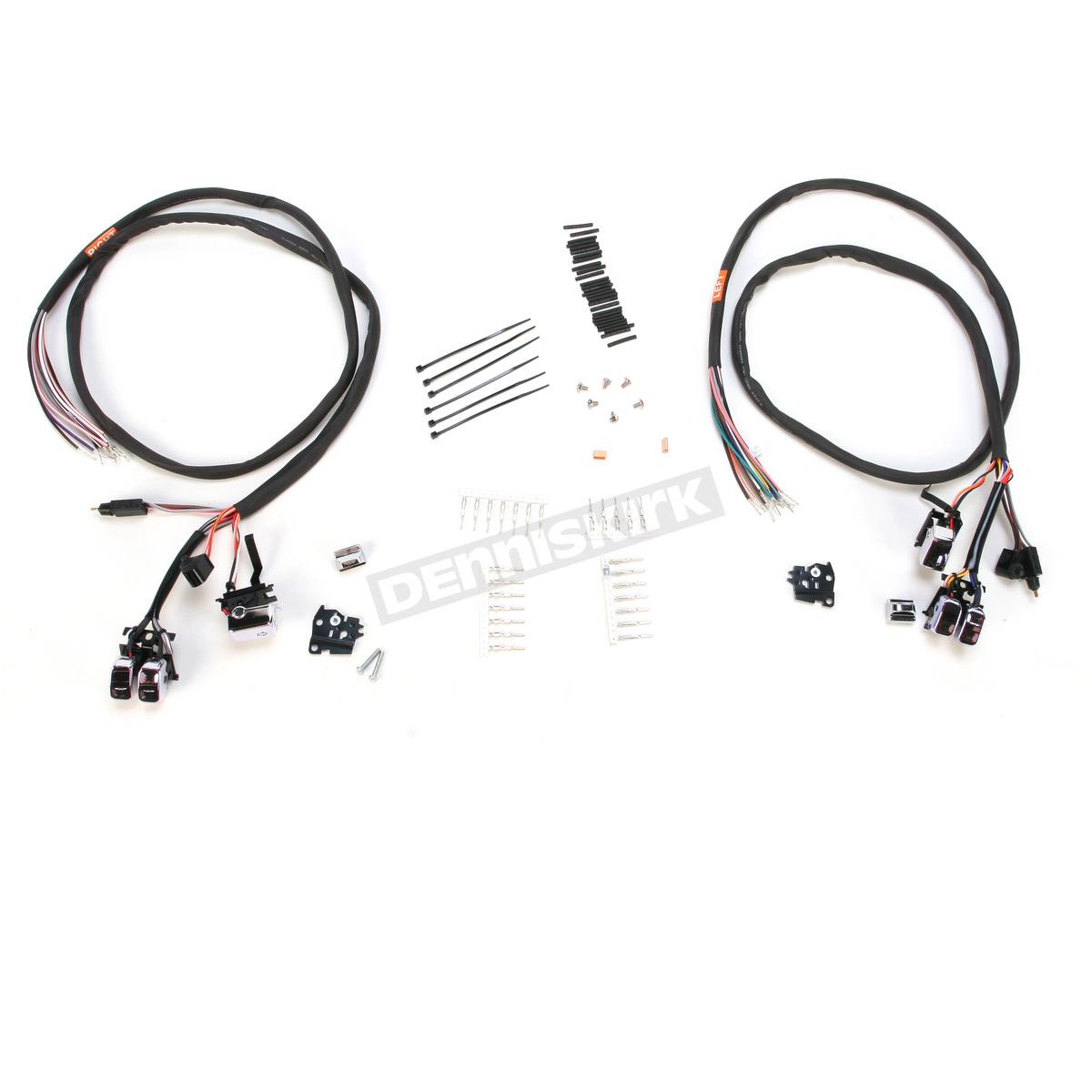 V Factor Chrome L E D Handlebar Switch Wiring Kit
