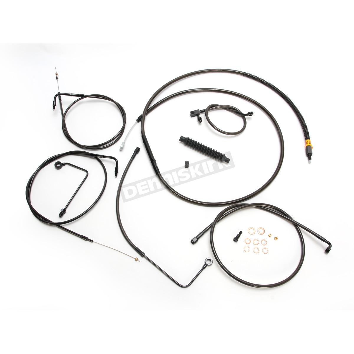 La Choppers Midnight Series Standard Handlebar Cable Brake Line Kit W Abs For 15 17 Ape Hanger