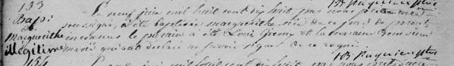 Baptismal record for Marguerithe