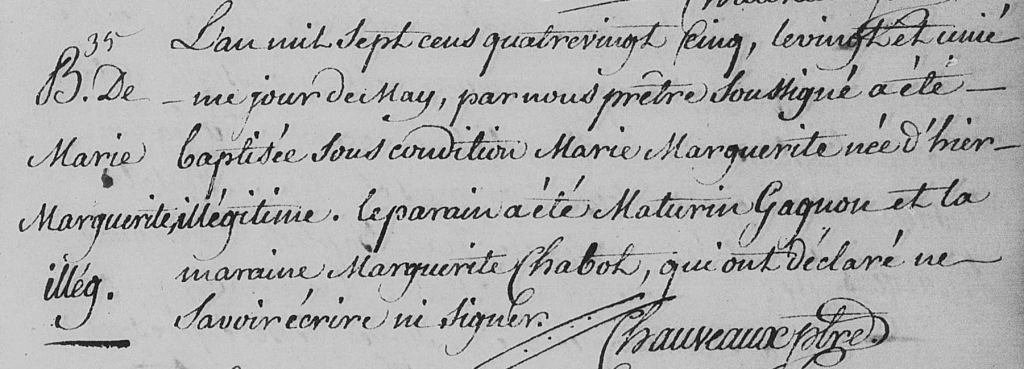 Baptismal record for Marie Marguerite