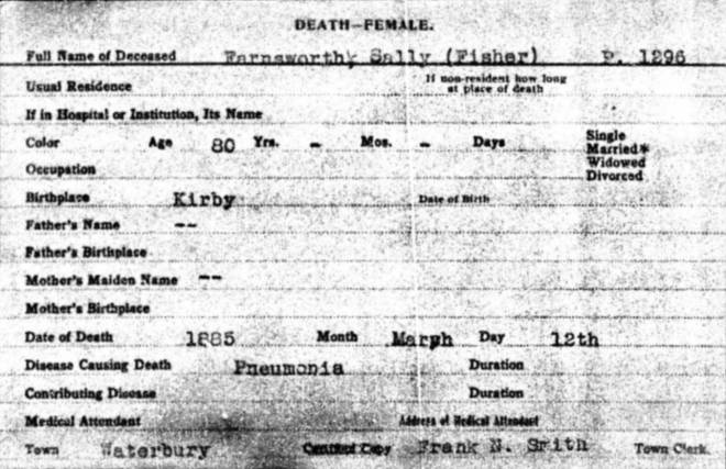 1885 Vermont Death Card for Sally Farnsworth (Fisher )