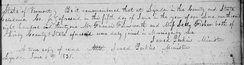1831 Marriage Record for Francis Farnsworth and Sally Fisher