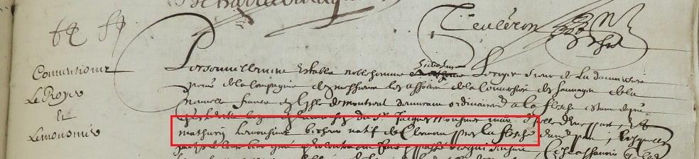 Extract. Engagement de Mathurin Lemonnier. 20 April 1644