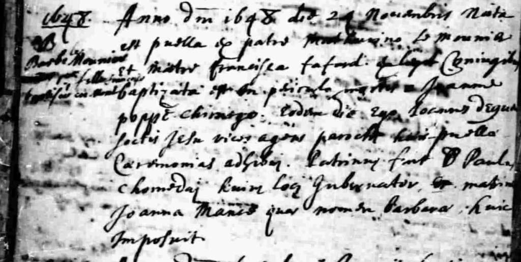 1648 Baptismal record for Barbe Lemounier