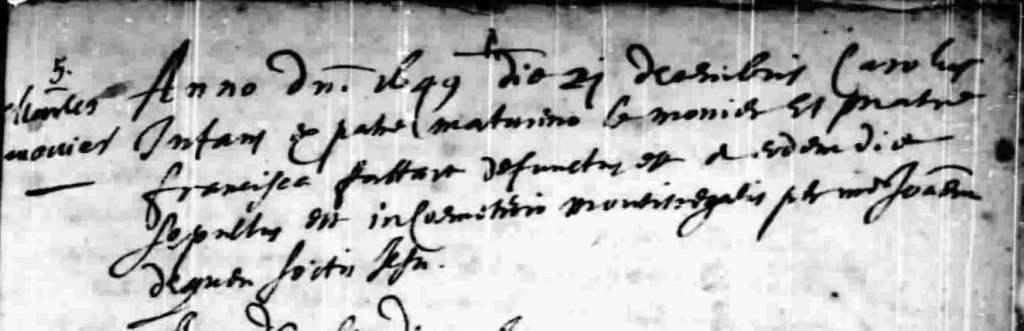 Burial of Charles Lemonnier 21 Dec 1649 in Notre-Dame-de-Quebec
