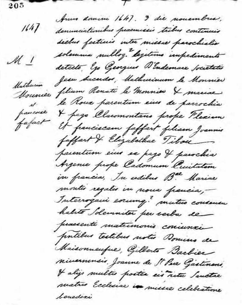 Rewritten marriage record of Mathurin Lemonnier and Francoise Faffart