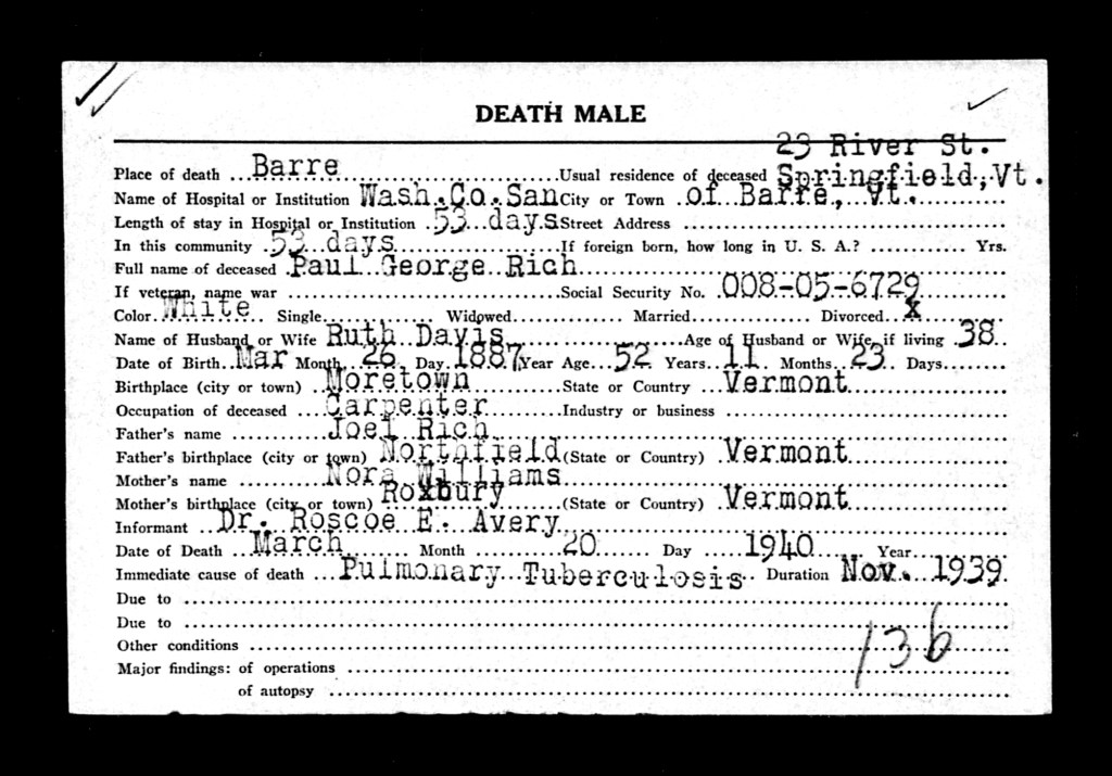 Death Record of Paul G. Rich
