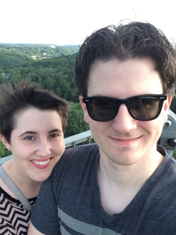 Leslie and I at the top of the tower
