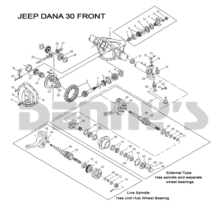 jeep front axles and related parts