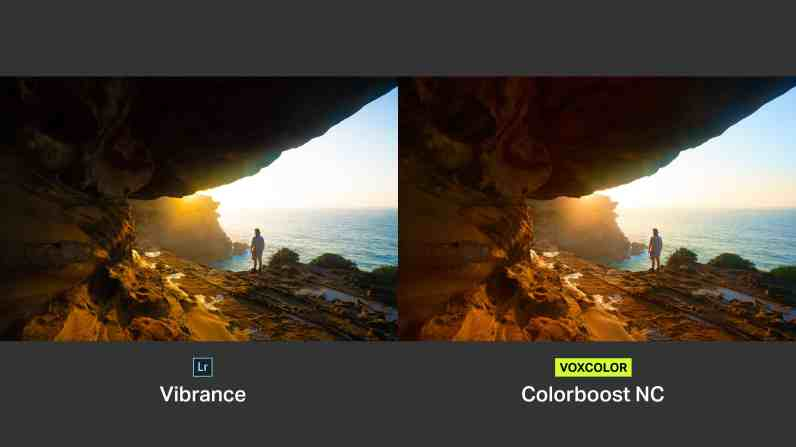 Colorboost can also protect your photo from color shifts. Vibrance tends to make sunsets look yellow.
