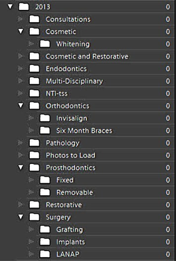 How to set up a folder hierarchy to organize dental photos in Lightroom