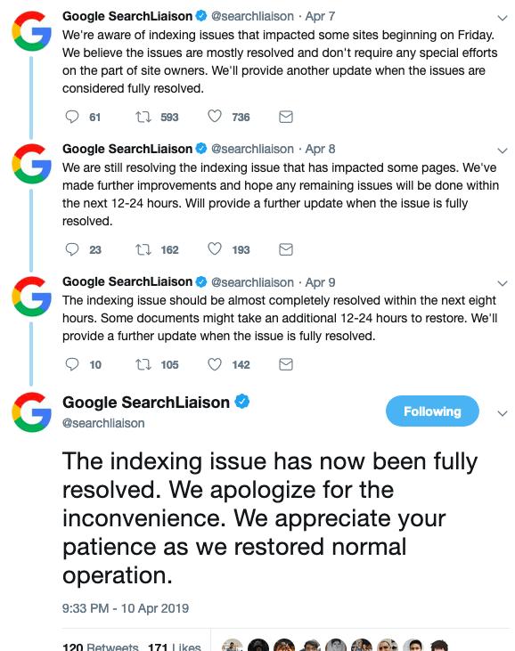 Google Confirmed Index Bug