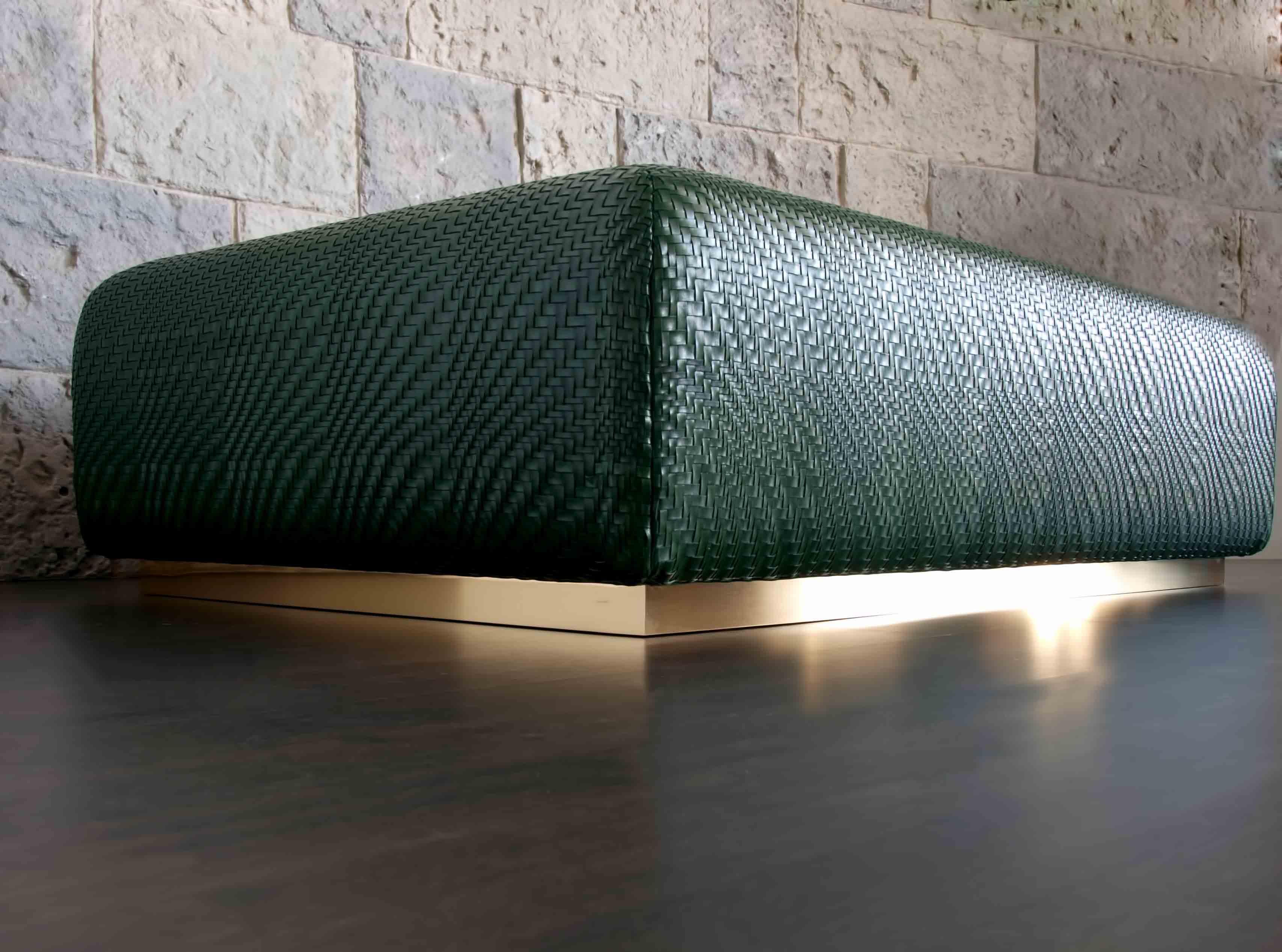 viarreggio woven leather coffee table ottoman