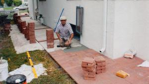 Re Lay Pavers Over Concrete Walkway
