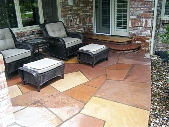 Beautiful Red and White Buffed Flagstone Masonry Patio