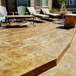 Stamped Concrete Patio With Large Step Entry