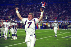 John Elway walks off the field in what could have been his last game in his illustrious career against the Atlanta Falcons at Pro Player Stadium in Miami, FL on January 31, 1999.