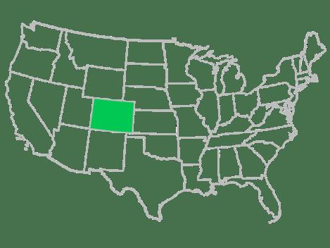 USA map Colorado highlighted
