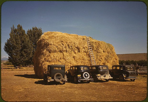 Hay stack and automobile of peach pickers. Delta County, Colorado, 1940. Reproduction from color slide. Prints and Photographs Division, Library of Congress