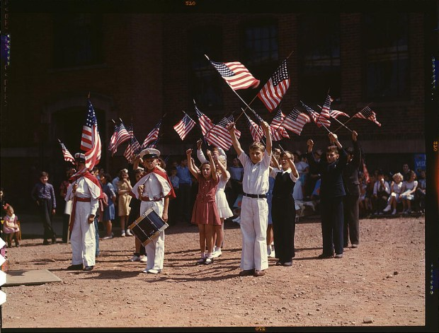 Children stage a patriotic demonstration. Southington, Connecticut, May 1942. Reproduction from color slide. Prints and Photographs Division, Library of Congress