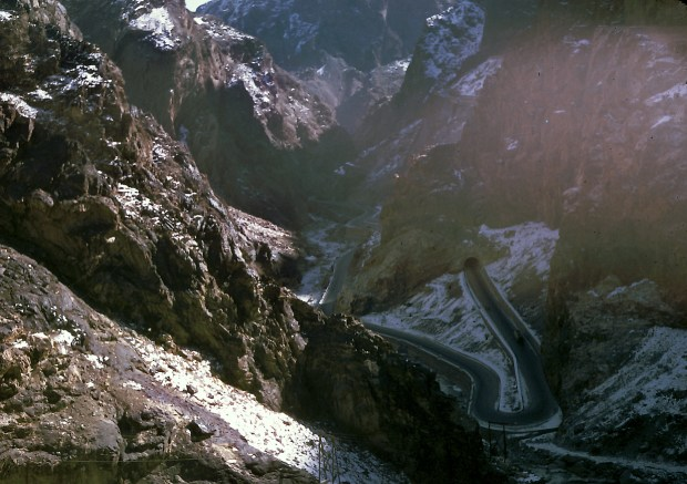 Kabul Gorge or locally known as Tang-i-Gharoo which led to the Darae Maiee-Par (Flying Fish Valley). This is the highway which connects Kabul with the province city of Jalalabad.