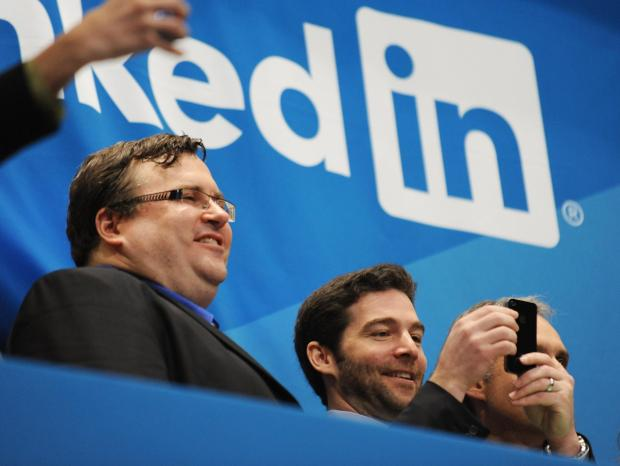 Linkedin founder Reid Garrett Hoffman, left, and CEO Jeff Weiner just before ringing the opening bell of the New York Stock Exchange May 19, 2011 during the initial public offering of the company.