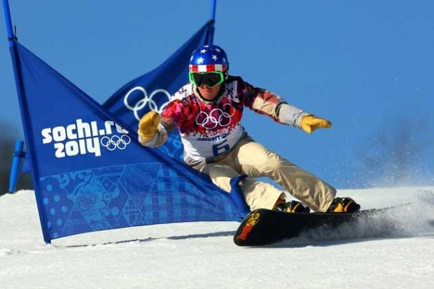 Justin Reiter of the United States competes in the Snowboard Men's Parallel Slalom Qualification on day 15 of the 2014 Winter Olympics at Rosa Khutor Extreme Park on Feb. 22, 2014 in Sochi, Russia.
