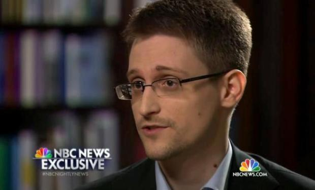 Edward Snowden, a former National Security Agency contractor, speaks to NBC's Brian Williams during a May 27, 2014, interview.