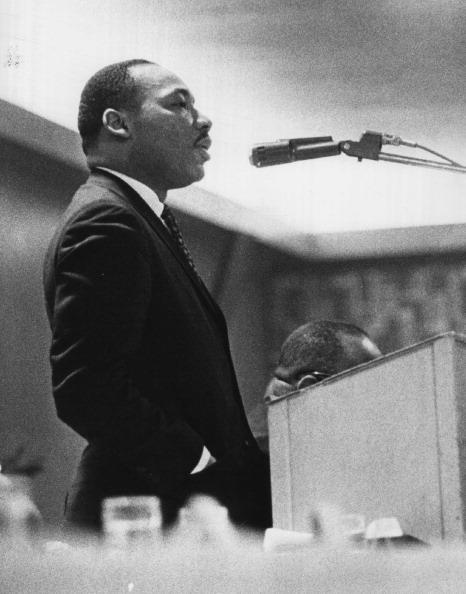 The Rev. Martin Luther King speaks at an event in 1964.