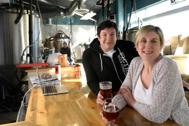Husband and wife Ryan and Christa Kilpatrick at their Fiction Beer Company in Denver.