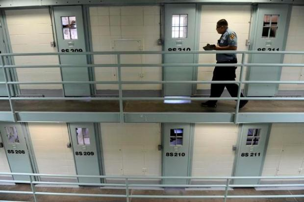 A Colorado Department of Corrections officer does an inmate count at the Fremont Correctional Facility in Cañon City in 2011.