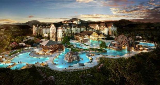 An artist's rendering of what the planned water park at the Gaylord Rockies hotel should look like.