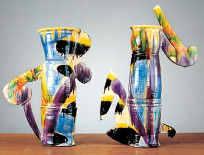 """Floating Kimono Vases"" (1992) are among signature works that were on view in a Betty Woodman retrospective at the Metropolitan Museum of Art in New York."