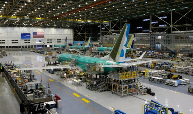 The second Boeing 737 MAX airplane being built is shown on the assembly line in Renton, Wash.
