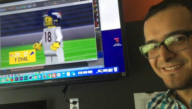 Luis Miranda, a motion designer for the Denver Broncos, created the Lego-inspired animations of team replays. The videos are shown at the stadium. Photo by Tamara Chuang, The Denver Post