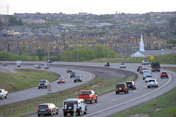 AURORA, CO - MAY 26: E-470 will undergo a big expansion in each direction between Parker Road and Quincy E-470 as the tollway nears its 25th anniversary. This is the view looking east from Gartrell Road, Thursday, May 26, 2016. (Photo by Steve Nehf/The Denver Post)