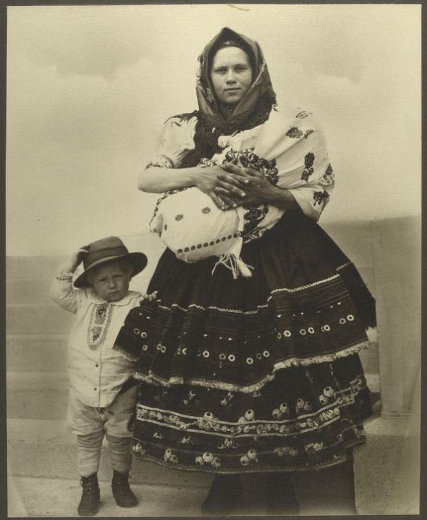 Slovak woman and children. Photo courtesy of New York Public Library Digital Collections.