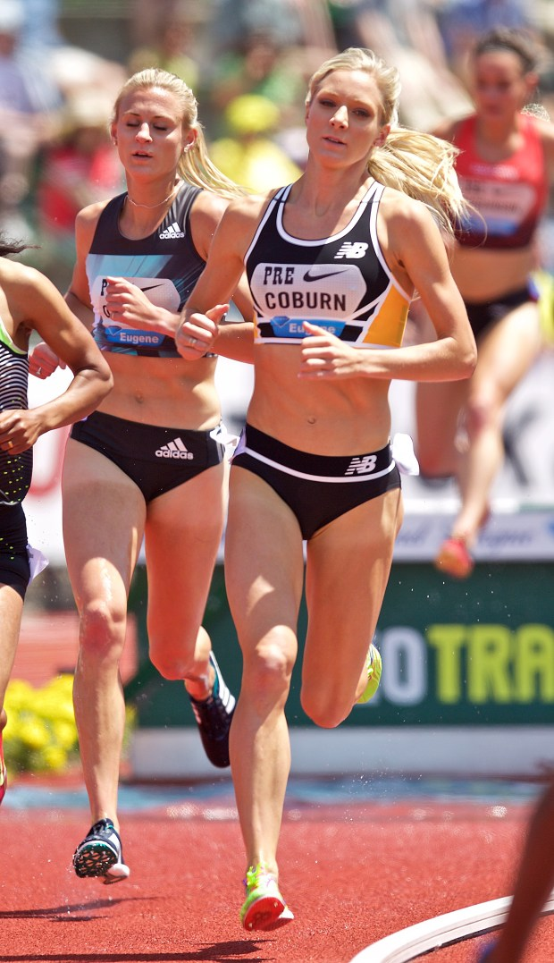 Emma Coburn runs in the 3000-meter steeplechase at Hayward Field on May 28, 2016, in Eugene, Ore.