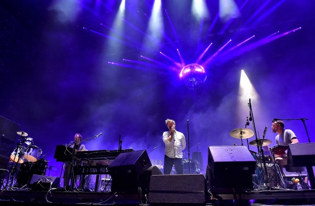 INDIO, CA - APRIL 22: (L-R) Musicians Al Doyle, Nancy Whang, Tim Goldsworthy, James Murphy and Pat Mahoney of LCD Soundsystem perform onstage during day 1 of the 2016 Coachella Valley Music & Arts Festival Weekend 2 at the Empire Polo Club on April 22, 2016 in Indio, California. (Photo by Kevin Winter/Getty Images for Coachella)