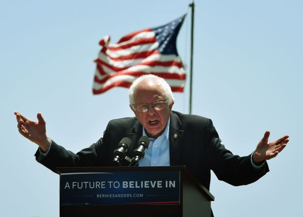 Democratic presidential hopeful Bernie Sanders speaks to supporters at an election rally in Ventura, Calif., on Thursday. Sanders single-payer health care plan would raise U.S. health expenditures by billions of dollars, according to the Urban Institute.