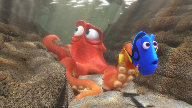 Hank (voiced by Ed O'Neill), a sullen seven-legged octopus, and Dory (Ellen DeGeneres) try to escape the Marine Life Institute.