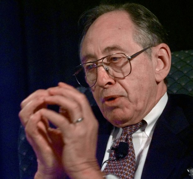 Author Alvin Toffler, who is best known for his book Future Shock, gestures with his hands as the Earth, during his talk on the Fourth Wave at the Astrobiology Roadmap Workshop in Mountain View, Calif., Monday, July 20, 1998