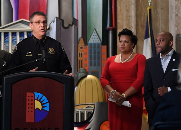 Denver Sheriff Patrick Firman discusses his department's new use-of-force policies as Director of Safety Stephanie O'Malley and Mayor Michael Hancock listen Thursday, June, 16, 2016, at the City and County Building.