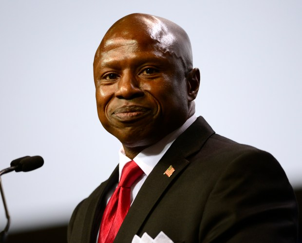 COLORADO SPRINGS, CO - APRIL 9: Darryl Glenn, U.S. Senate candidate, addresses the crowd from the stage. Republicans gather at the 2016 Colorado State Republican Convention at the Broadmoor World Arena in Colorado Springs on Saturday, April 8, 2016. (Photo by Kathryn Scott Osler/The Denver Post)