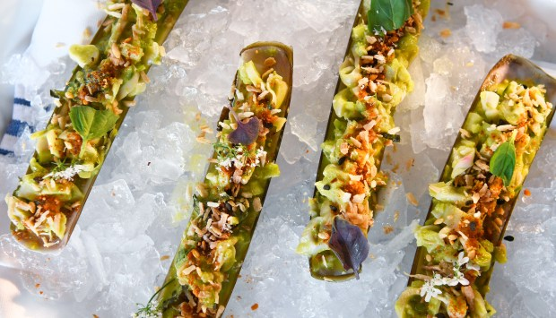The razor clams.